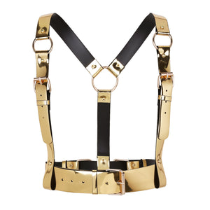 Faux Leather Body Harness (Gold & Silver)
