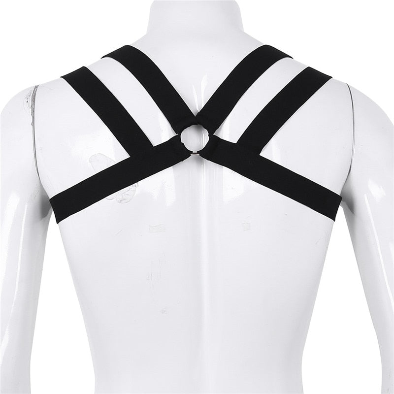 Men's Double Shoulder Strap Harness (Black & White)
