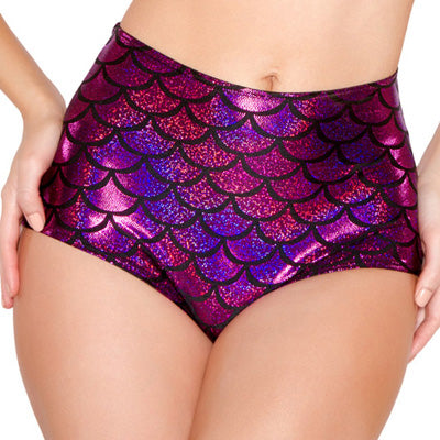 High Waist Fish Scale Booty Shorts (Multiple Colors)