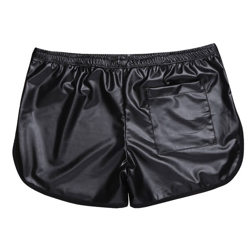 Faux Patent Leather Circuit Shorts
