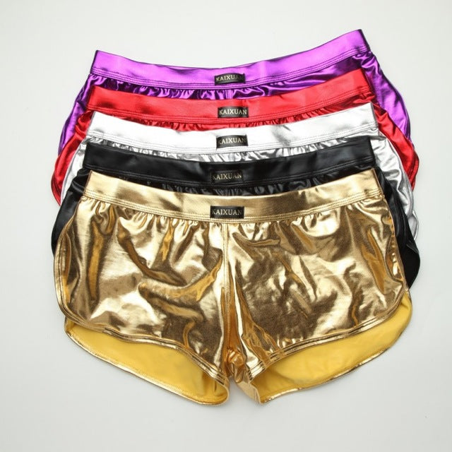 Faux Leather Shiny Boxer (Multiple Colors - 5 Pcs)