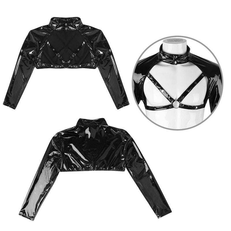 Long Sleeve Faux Leather Harness