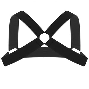 Harness With Criss-Cross Back O-Ring (Black/White)