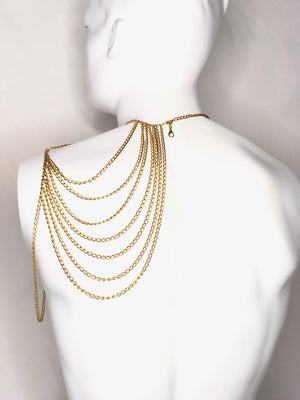 Asymmetrical Chain Necklace (Silver/Black/Gold)