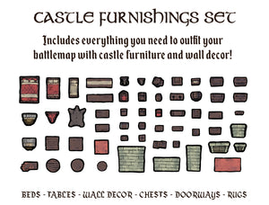 Tabletop Tokens Castle Furniture Set (Pre-Order)
