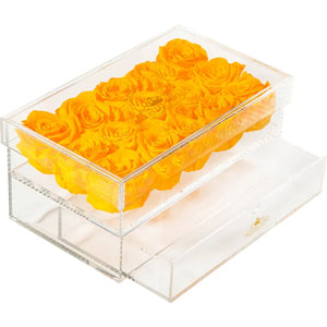 Tiger Orange Eternity Roses - Acrylic Box