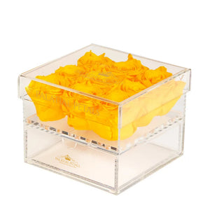 Yellow Eternity Roses - Acrylic Box