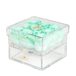 Tiffany Blue Eternity Roses - Acrylic Box