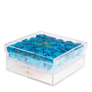 Turquoise Preserved Eternity Roses - Acrylic Box