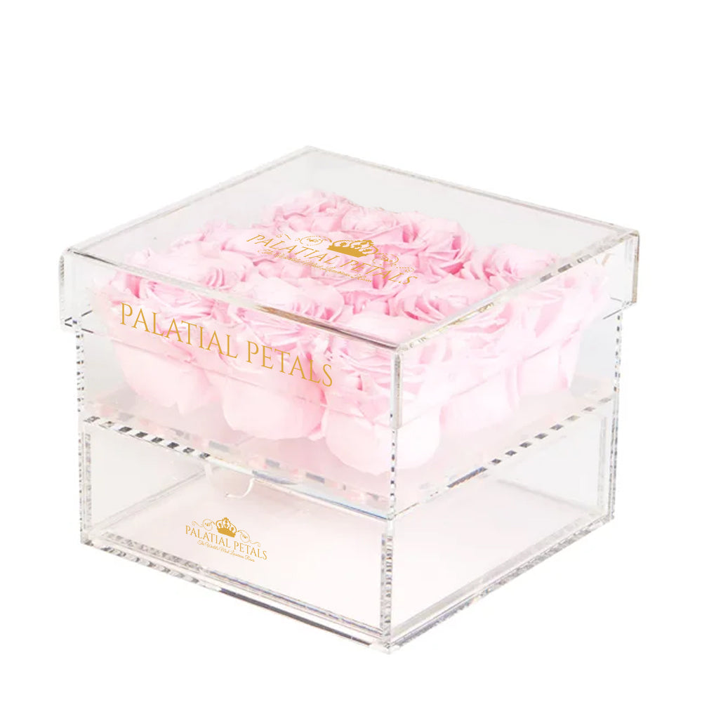 Bridal Pink Eternity Roses - Acrylic Box