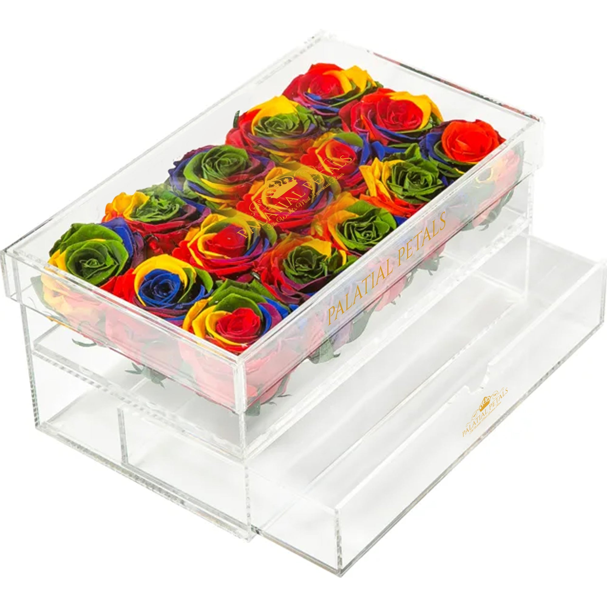 Rainbow Eternity Roses - Acrylic Box
