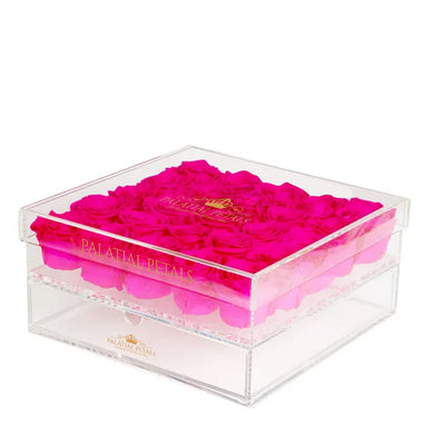 Hot Pink Eternity Roses - Acrylic Box