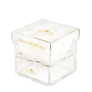 White Eternity Roses - Acrylic Box cinq
