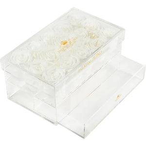 White Eternity Roses - Acrylic Box