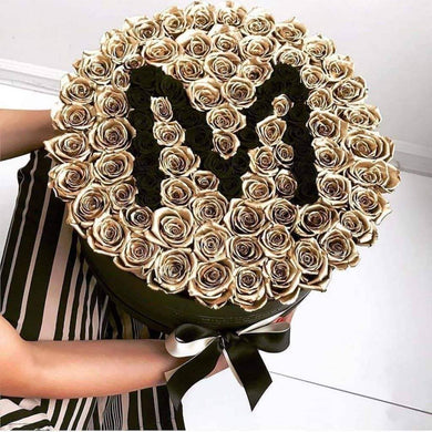 24K Gold & Black Roses That Last A Year - Custom Deluxe Rose Box - Palatial Petals