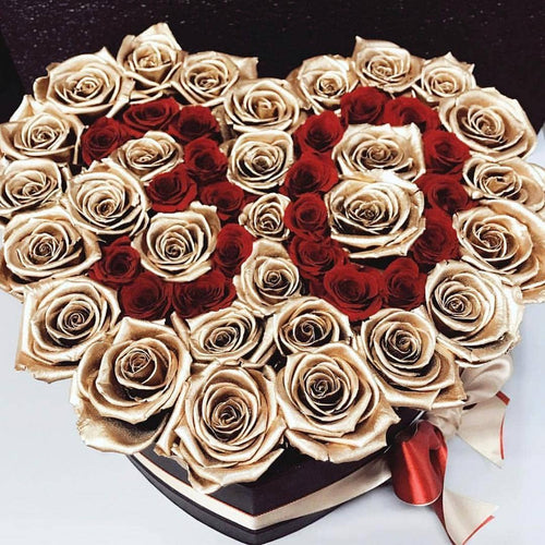 24k Gold & Red Roses That Last A Year - Custom Love Heart Rose Box - Palatial Petals