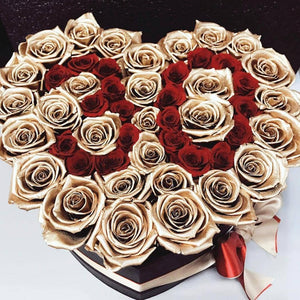 24k Gold & Louboutin Red Roses That Last A Year - Custom Love Heart Rose Box - Palatial Petals