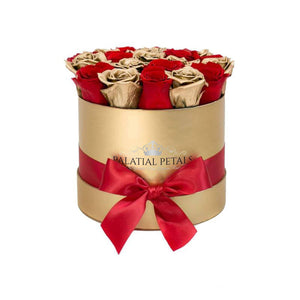 24K Gold & Red Roses That Last A Year - Classic Rose Box - Palatial Petals