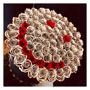 24K Gold & Red Roses That Last A Year (Smiley) - Deluxe Rose Box - Palatial Petals