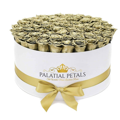 24k Gold Roses That Last A Year - Deluxe Rose Box - Palatial Petals