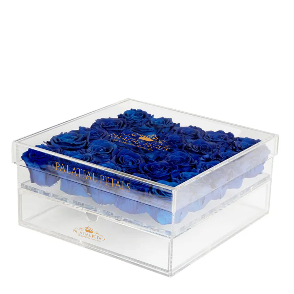 Royal Blue Eternity Roses - Acrylic Box