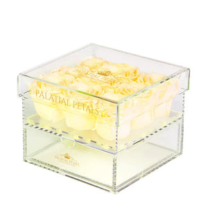 Light Yellow Eternity Roses - Acrylic Box