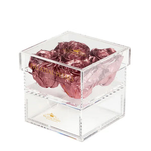 Rose Gold Eternity Roses - Acrylic Box