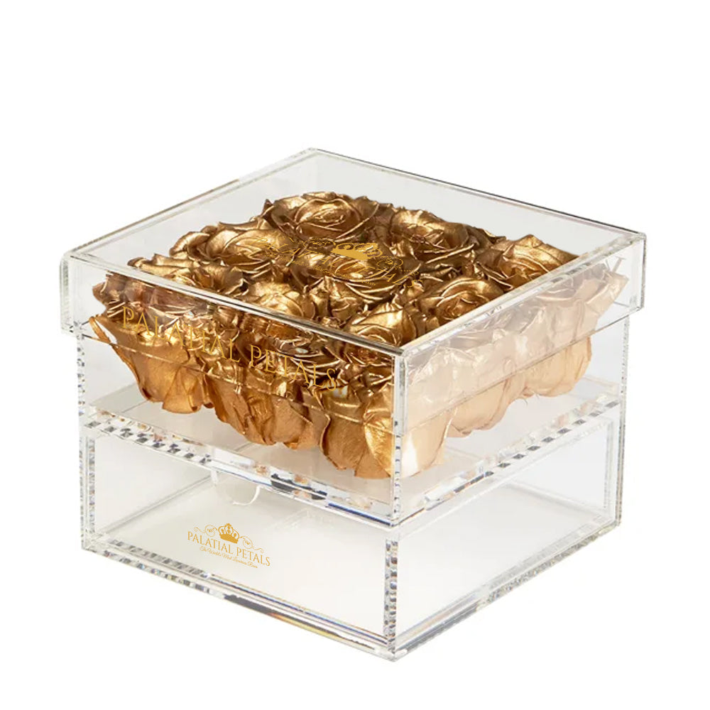 24k Gold Eternity Roses - Acrylic Box