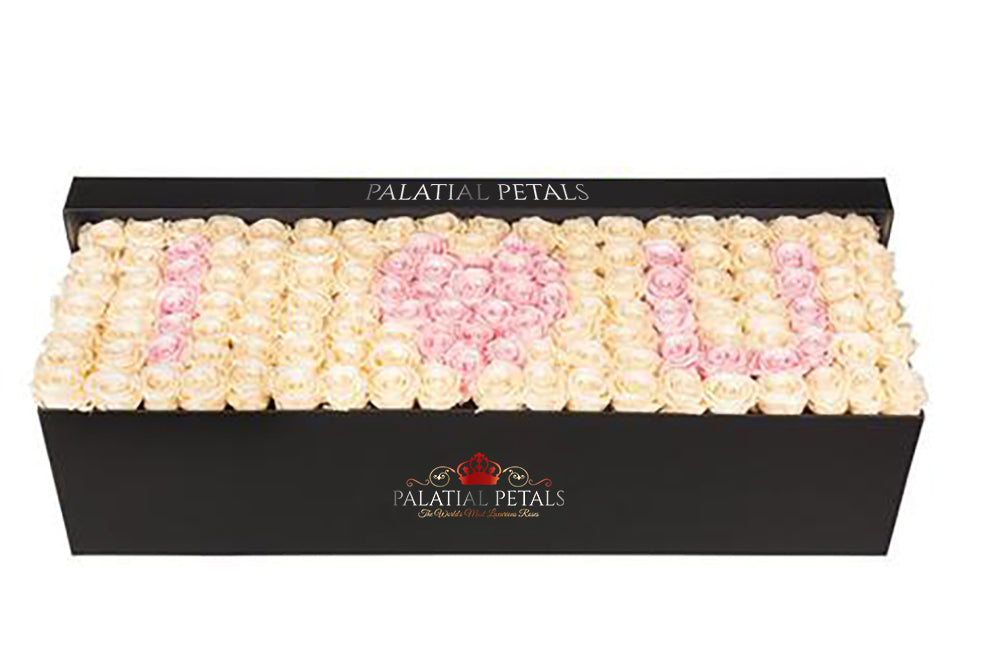 Bridal Pink & Cream Roses That Last A Year - Custom Grandiose Rose Box