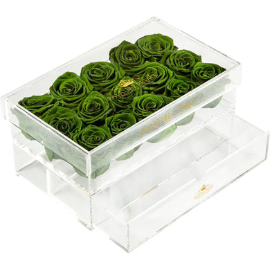 Green Eternity Roses - Acrylic Box