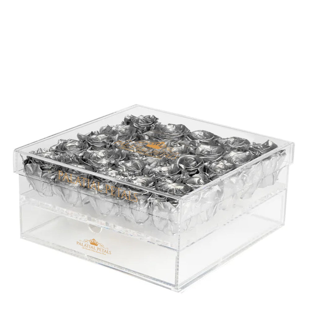 Silver Eternity Roses - Acrylic Box