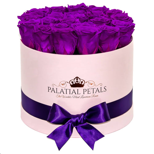 Large Pink Rose Box - Majestic Purple Timeless Luxury™ Roses - Palatial Petals