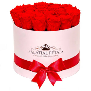 Large Pink Rose Box - Ferrari Red Timeless Luxury™ Roses - Palatial Petals