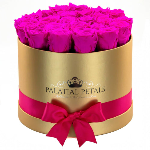 Large Gold Rose Box - Barbie Pink Timeless Luxury™ Roses - Palatial Petals