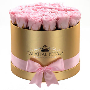 Large Gold Rose Box - Bridal Pink Timeless Luxury™ Roses - Palatial Petals