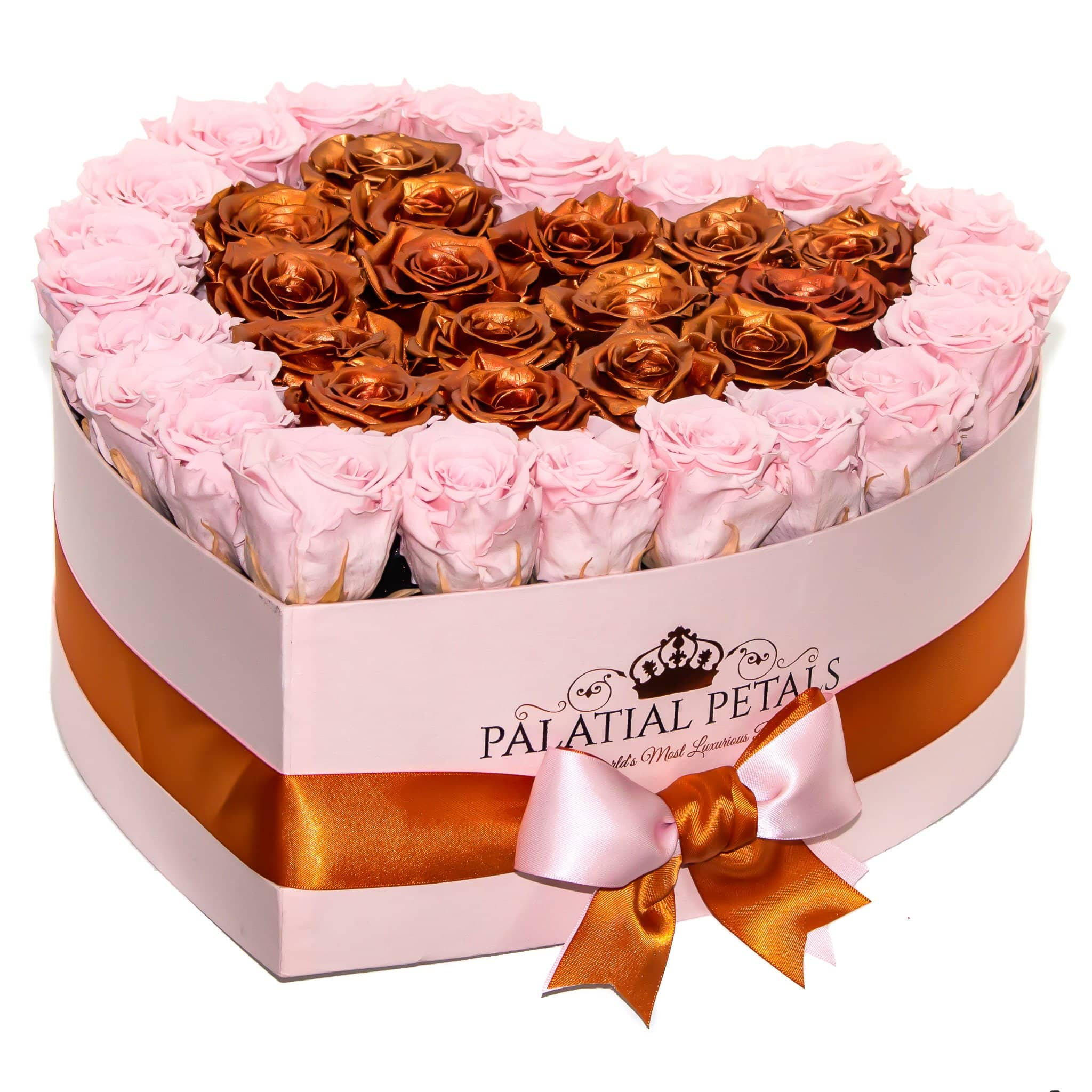 Rose Gold & Bridal Pink Preserved Roses That Last A Year - Love Heart Rose Box - Palatial Petals