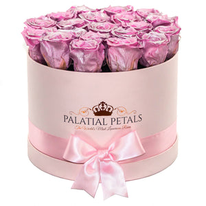 Large Pink Rose Box - Sparkling Rose Special Edition Timeless Luxury™ Roses - Palatial Petals
