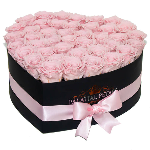Bridal Pink Preserved Roses That Last A Year - Love Heart Rose Box - Palatial Petals