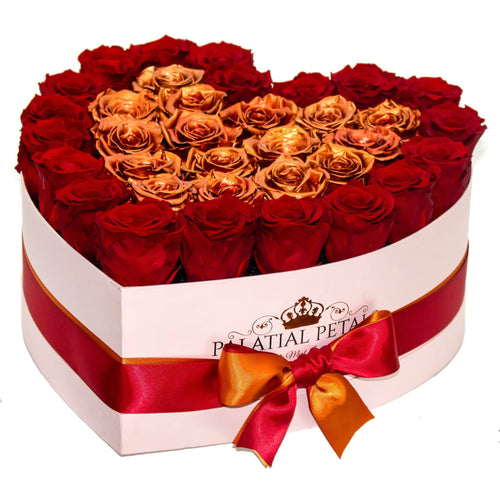Heart Shape Pink Rose Box - Louboutin Red & Rose Gold Timeless Luxury™ Roses - Palatial Petals