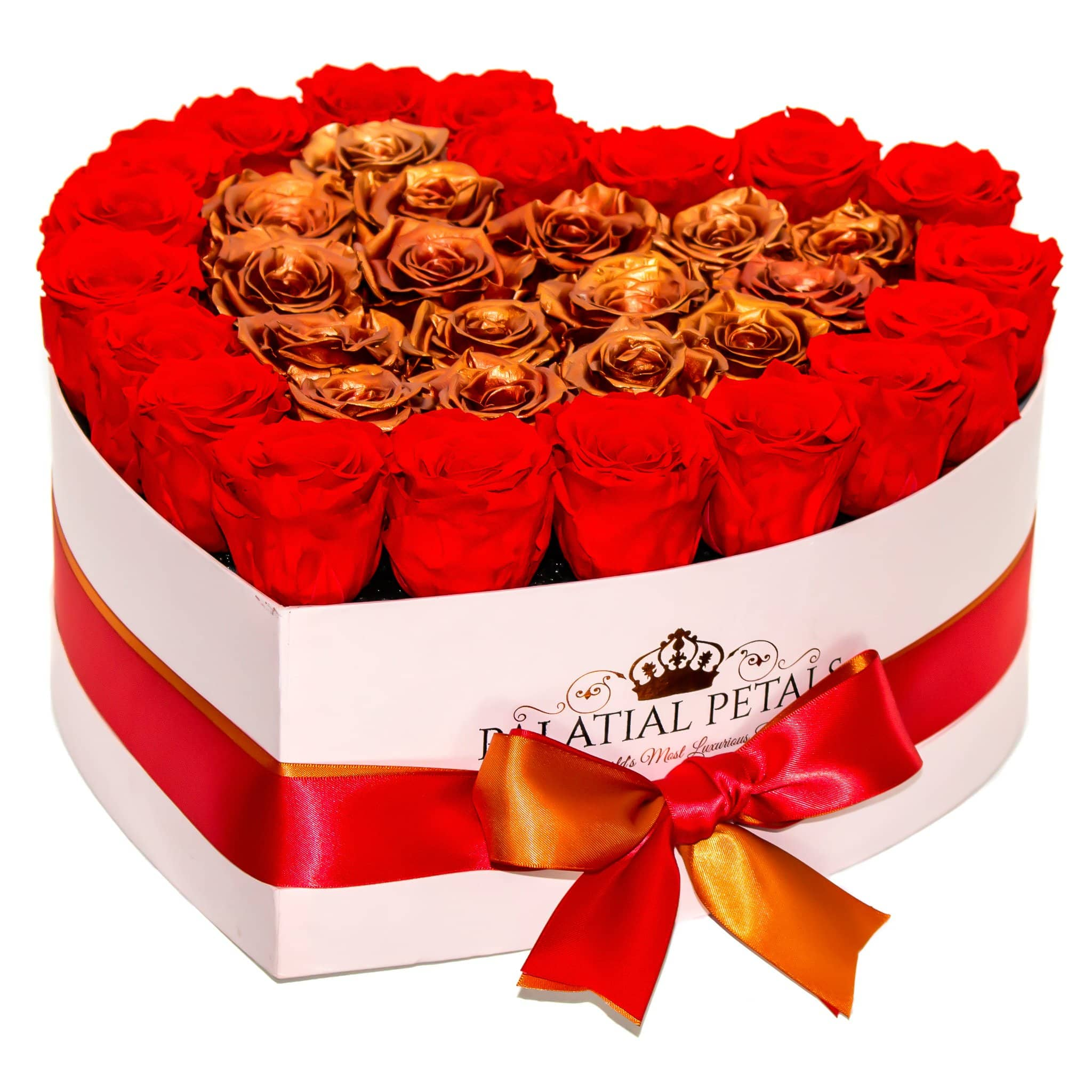 Heart Shape Pink Rose Box - Ferrari Red & Rose Gold Timeless Luxury™ Roses - Palatial Petals
