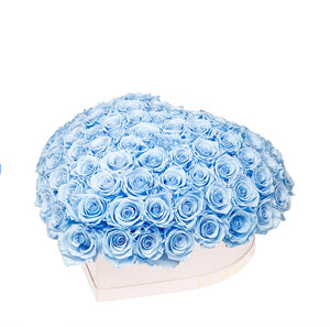 "Baby Blue Roses That Last A Year - Love Heart ""Crown"""