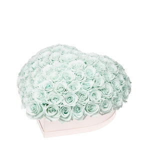 "Mint Green Roses That Last A Year - Love Heart ""Crown"""