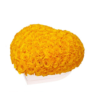 "Yellow Roses That Last A Year - Love Heart ""Crown"""