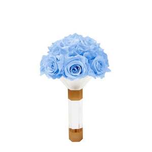 Baby Blue Luxury Eternity Rose Bridesmaid Bouquet - Palatial Petals