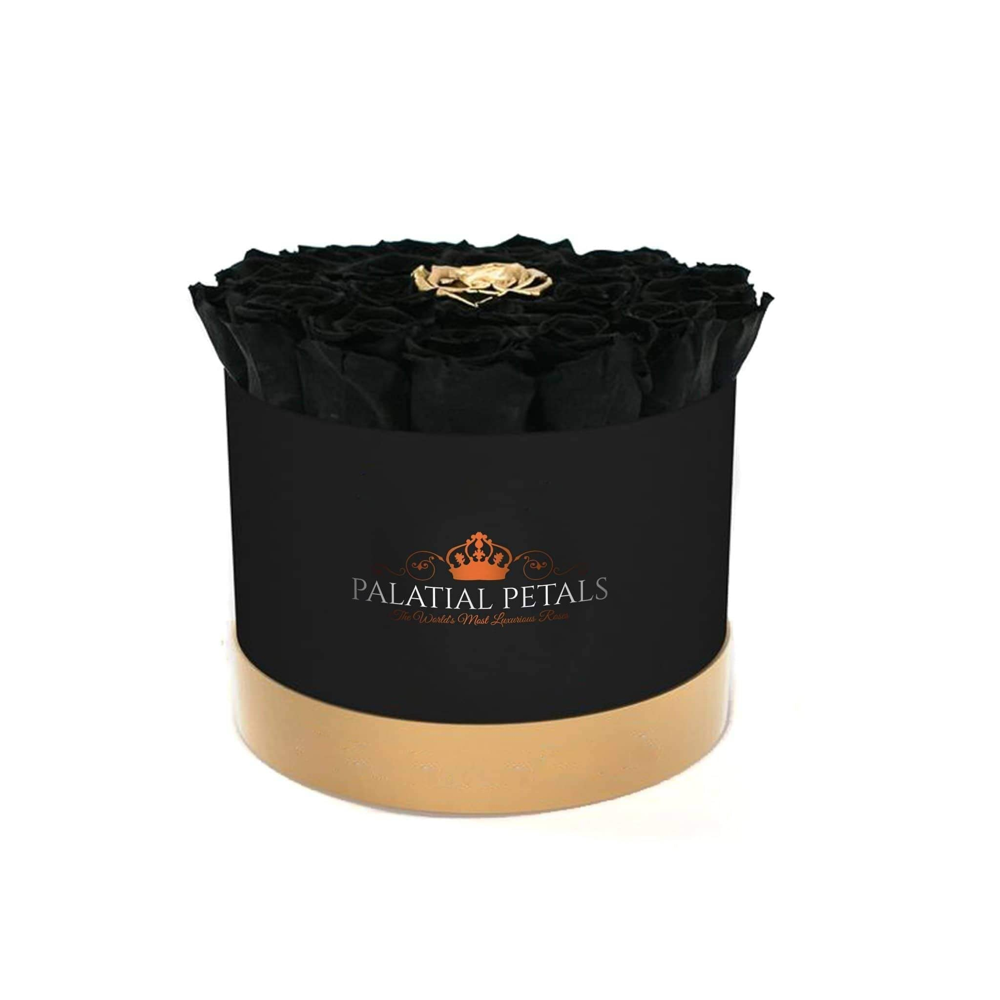 Black & 24k Gold Roses That Last A Year - Classic Rose Box - Palatial Petals