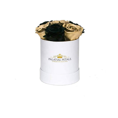 Black & 24k Gold Roses That Last A Year - Petite Rose Box - Palatial Petals