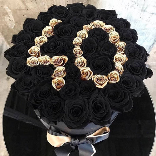 Black Magic & 24K Gold Preserved Roses That Last A Year - Custom XL Rose Box - Palatial Petals