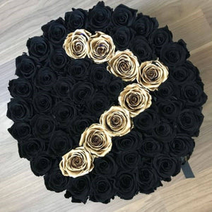 Black Magic & 24K Gold Preserved Roses That Last A Year - XL Custom Rose Box - Palatial Petals