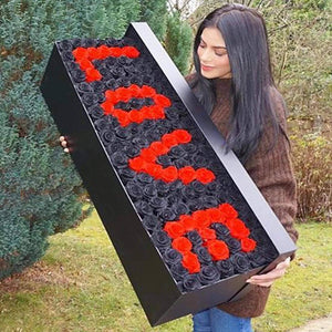 Black Magic & Ferrari Red Roses That Last A Year - Custom Grandiose Rose Box - Palatial Petals