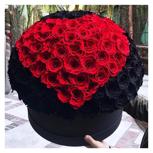 Black Magic & Louboutin Red Roses That Last A Year - XL Deluxe Black Rose Box - Palatial Petals